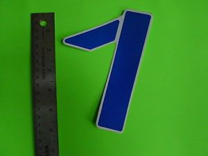 Vintage Bike Bicycle Old School Number Sticker Blue White 3D Style 7 Plate
