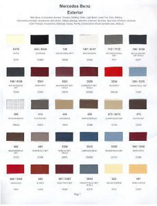 1985 Mercedes Paint Color Sample Chips Card Colors