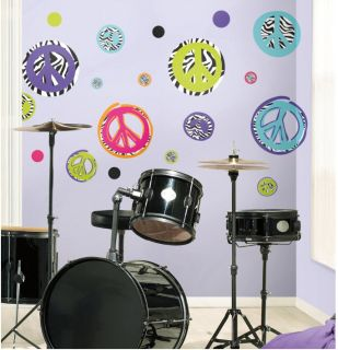 26 Zebra Peace Sign Wall Stickers Decal Decor Pink Black Blue RoomMates