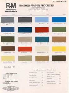 1972 Plymouth Paint Color Sample Chips Card Colors