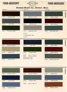 1939 41 Ford Paint Color Sample Chips Card Colors