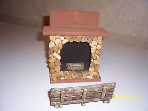 Handcrafted Wood Painted Fireplace Log Bench Dollhouse Furniture
