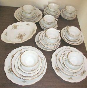 44 Piece Johann Haviland China Bavaria Germany Sepia Rose Serving Soup Bowls