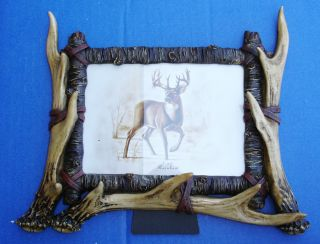 "Western Lodge Cabin Decor Faux Antler 7"" x 5"" Picture Frame"