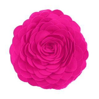 "Eva's Fleurs de Jardon Fuchsia Hot Pink Decorative Throw Pillow 13"" Round New"
