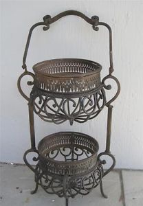 Antique Victorian Wrought Iron Double Plant Pot Stand