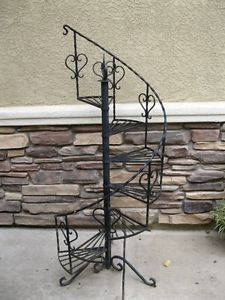 Superbe ... Vintage Wrought Iron Stand Metal Staircase Ladder Stand Plant Stand  Fixture ...