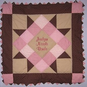 Personalized Pink Brown Baby Girl Quilt Kit with Pattern