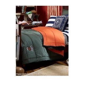 Ralph Lauren University Tate Full Queen Comforter Sleeping Bag Green Orange