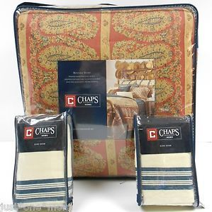 Chaps Ralph Lauren Montauk Studio 6pc Queen Comforter Set New Euro Paisley