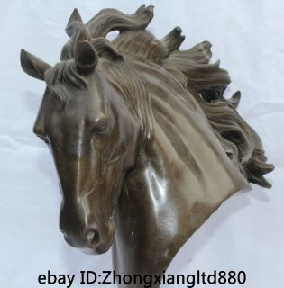 "12"" Chinese Museum Dynasty Bronze Horse Head Bust Statue Sculpture Figures"