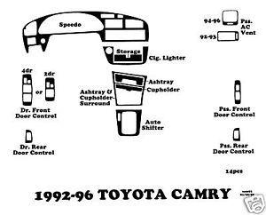 1992 1996 Toyota Camry Wood Dash Kit Wood Trim Wood Grain Kit Dash Outlet 14pcs