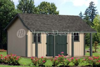 Cape Bonnet Roof Style 16'x16' Shed with Porh Plans P81616 Free Material List