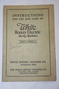 Original Sewing Machine Manual White Rotary Electric Sewing Machines Model 41