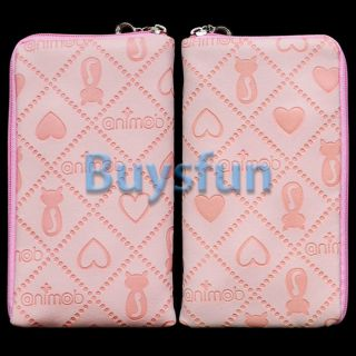 Pink Cat Heart Style Zipper Case Bag Wallet Pouch for iPod Touch 4 4G 5 5g