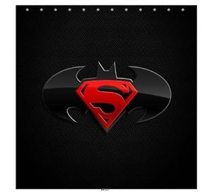 New Batman Superman Logo Shower Curtain Bath Gift