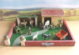 Vintage Wooden Farm Yard with Animal Sheds Various Lead Figures Britains Etc