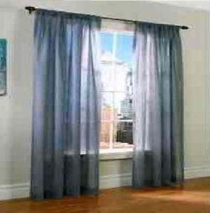 4pcs Gray Blue Sheer Viole Panel Curtain Drapes Window Cover Very Elegant 60x84
