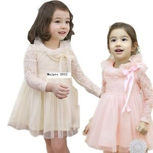 Girls Kids Baby 2 7Y Lace Collar Rose Long Sleeve Skirt Dress Outfit Set FT121