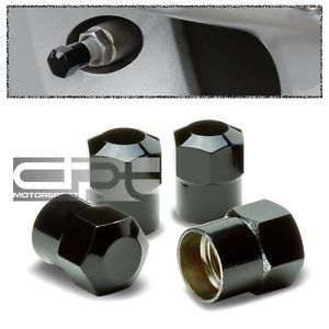 4 Pieces Brass Metal Coated Tire Rim Valve Air Port Dust Cover Stem Cap Black