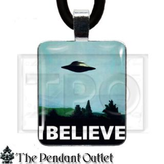UFO Alien Space x Files Area 51 Believe Sci Fi Roswell Charm Pendant Necklace