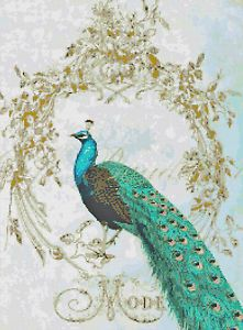 French Shabby Chic Peacock Ephemera Flourish Frame Handmade Cross Stitch Pattern