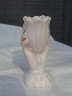 Vintage Mini Bud Vase Hand Holding Flower Tulip Ceramic Porcelain Signed FF