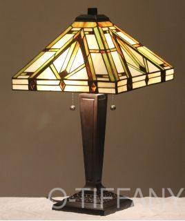"Tiffany Style Stained Glass Lamp ""Golden Mission"" w Tiffany Summer Card"