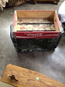 Old Vintage Shabby Wooden Coca Cola Coke Soda Bottle Crate Carrier Tool Open Box