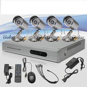 4CH 4 Channels Home CCTV DVR Security System Remote Control with Outdoor Cameras