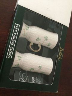New Belleek Irish Coffee Mug Shamrock Tableware Pair w Original Box Literature