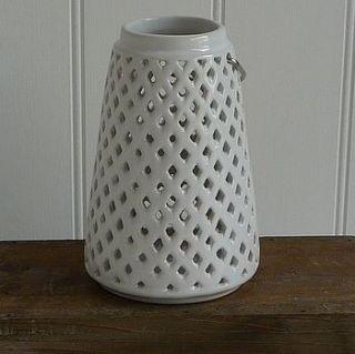 white ceramic t light holder by marquis & dawe
