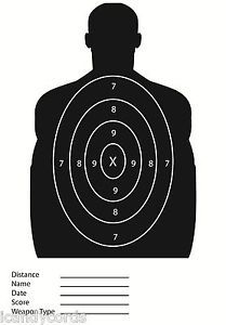 100 Target Black Silhouette Color Sight in Paper Targets Shooting Practice Range