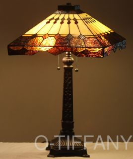 "Tiffany Style Stained Glass Mission Lamp ""Tahoe"" w Metal Base"