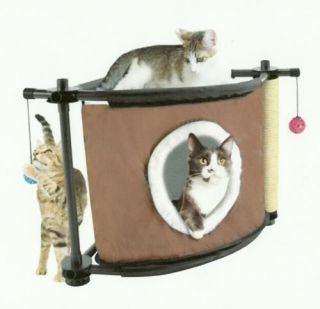Sleepy Corner Bed Platforms Peep Holes Balls Scratching Post for Cat Kitten