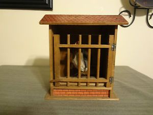 Antique Folk Art Pennsylvania Chicken Coop Rooster Wood Litho Pop Out Toy