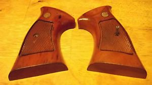 Smith Wesson Wood Checkered Target Grips Factory N Frame Square Butt Football