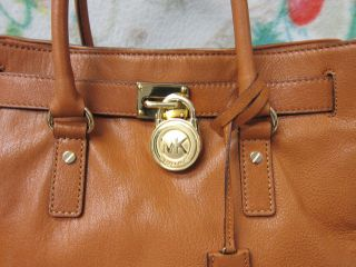 Authentic Michael Kors Hamilton Large Leather Tote Bag $348 in Luggage