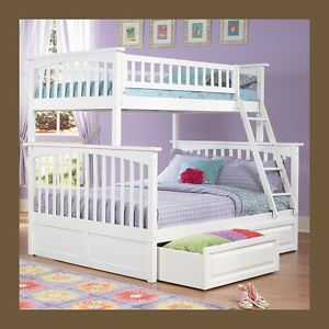 Girls White Bunk Bed Twin Over Full Storage or Trundle