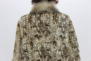 57343A New White Brown Spot Sheared Rabbit Raccoon Fur Stroller Coat Jacket 2XL