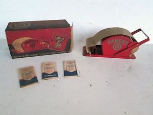 RARE VINTAGE 1950S TARGET CIGARETTE ROLLING MACHINE W BOX 3 PACKS OF PAPERS