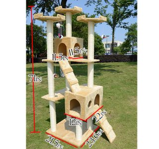 "New 71"" Cat Tree Condo Furniture Scratch Post Pet House Beige w Free Toys"