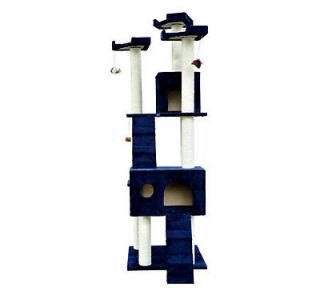 "New 71"" Cat Tree Condo Furniture Scratch Post Pet House Blue Free Toys"