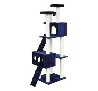 "New 71"" Cat Tree Condo Furniture Scratch Post Pet House Beige Blue Free Toys"