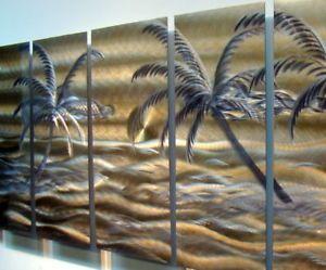 """Tropical Modern Abstract Metal Wall Art Office Decor Sculpture """"Golden Beach"""""""