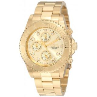 Invicta 1774 Men's Pro Diver Chronograph 18K Gold Plated Stainless Steel Watch