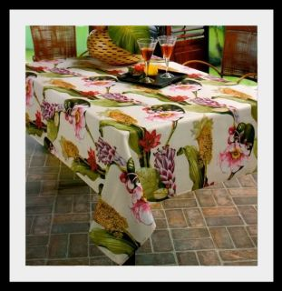 Rainforest Tropical Flowers Floral Poly Tablecloth NIP