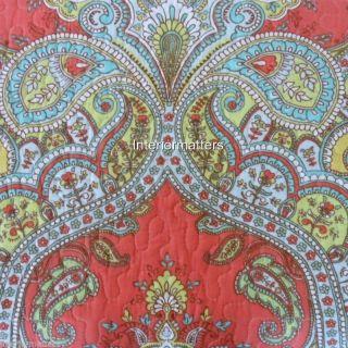 Tahari Medallion 3pc Queen Quilt Set Moroccan Paisley Tropical Coral Orange Aqua