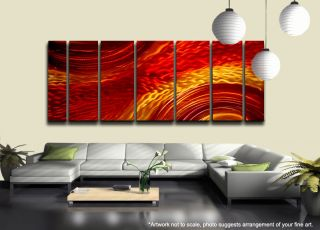 "Contemporary Abstract Metal Wall Art Hand Painted Red Gold ""Harvest Moods XL"""