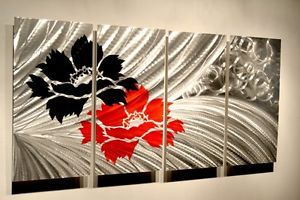 Modern Abstract Metal Wall Art Sculpture Painting Contemporary Decor Red Flower